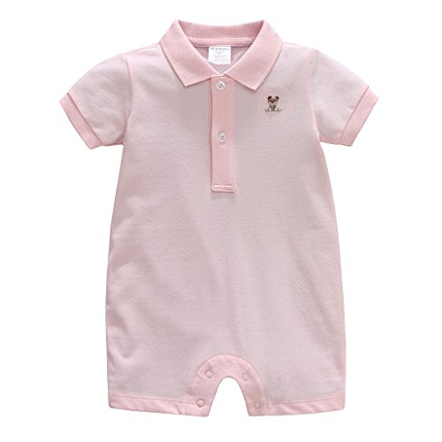 Vine Baby Spieler Polo Kurzarm-Body Sommer Spielanzug Strampelanzug mit Kurzen Beinen Baumwolle Strampler 6-12 Monate