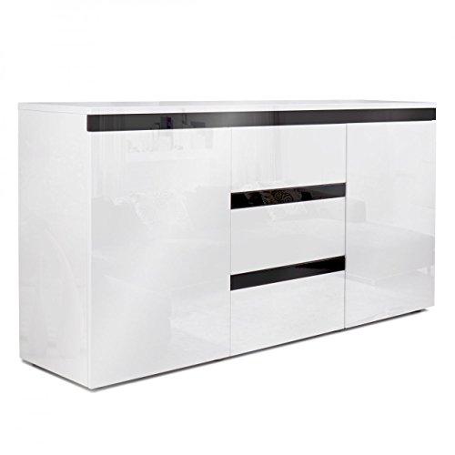 Homelux Sideboard Kommode Anrichte Hochglanzoptik Lackiert Push to Open-Funktion 139 x 35 x 72 cm Schwarz