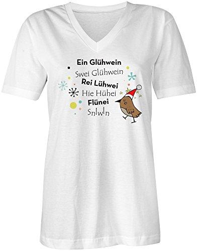 Ein Gluehwein ★ V-Neck T-Shirt Frauen-Damen ★ hochwertig bedruckt mit lustigem Spruch ★ Die perfekte Geschenk-Idee (02) weiss