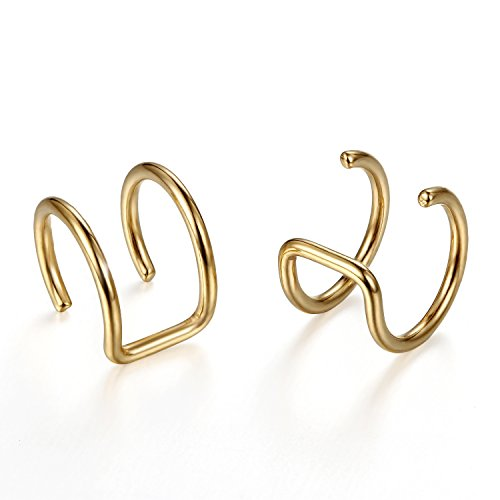 fake piercing ohr helix Flongo Edelstahl Ohrringe Ohrstecker Ohrclip Ohrklemme Non Piercing Fake Captive Ring Ohrpiercing Helix Cartilage Knorpel Piercing Gold Golden Herren, Damen