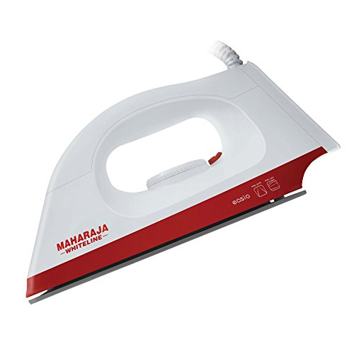 Maharaja Whiteline Easio 1000-Watt Dry Iron (White and Red)
