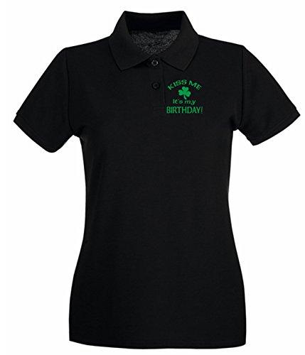 Cotton Island - Polo pour femme TIR0131 kiss me its my birthday st pats day dark tshirt Noir