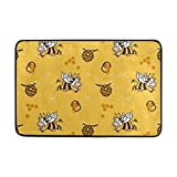 Rghkjlp Doormats Area rug Happy Cow Bee Honey Lightweight Doormat 23.6x15.7 inch, Memory Sponge Indoor Outdoor Decor Living Room Bedroom Office Kitchen