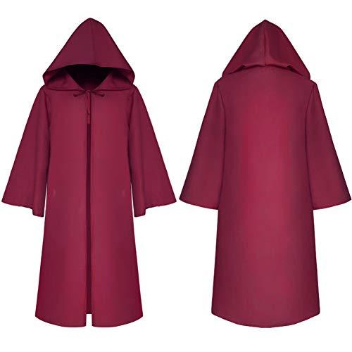 Kostüm Robe Rot Hooded - Cosqaye Full Length Hooded Robe Mantel Long Cape Polyester Cosplay Kostüm Halloween Mantel Flügel Für Erwachsene (Rot-01,XL)