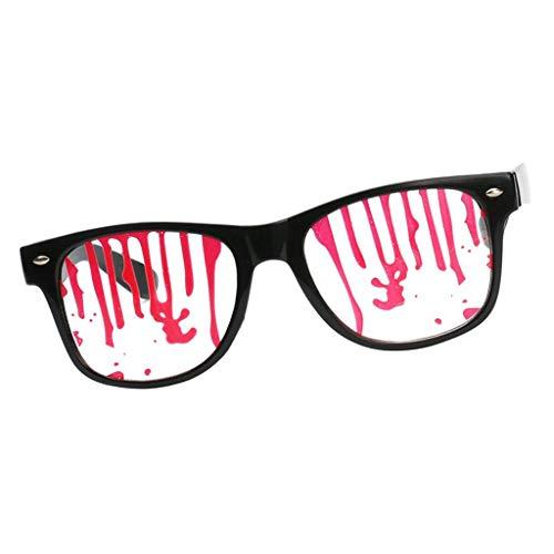 F Fityle Damen Herren Party-Brille Spaß-Brille Dekobrille Karnevalbrille Brille Gläser Sonnenbrille für Kostüm Party Club Tanz Props - Blut tropft