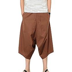 Pantalones Anchos Hombre Pantalones Cortos Bermudas Pantalones Hippies Transpirable Pantalones De Lino Café L