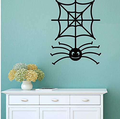Qhrdp Cartoon Spooky Spinnennetz Vinyl Wandaufkleber Halloween Wandtattoo Für Schlafzimmer Wohnzimmer Wohnkultur 74X57,4 Cm