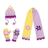 Kidorable Little Girls Lotus Hat Scarf Gloves Knitwear Winter Set 3-6 years