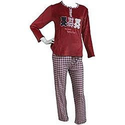 FERETI (XL) Pijama Mujer Rojo Azul Terciopelo Osos Otoño Oso Panda Animales Invierno Flanelado Polar Conjunto