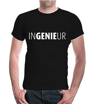 buXsbaum® Herren Unisex Kurzarm T-Shirt bedruckt Ingenieur | Genie Technik Studium | S black-white Schwarz
