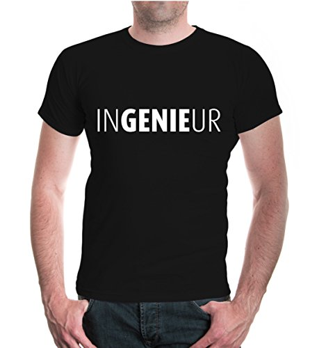buXsbaum® Herren Unisex Kurzarm T-Shirt bedruckt Ingenieur | Genie Technik Studium | L black-white Schwarz Ingenieur
