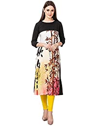 Binny Creation Multi Colour Boat Neck With Full Sleeve Printed Casual Kurtis For Women