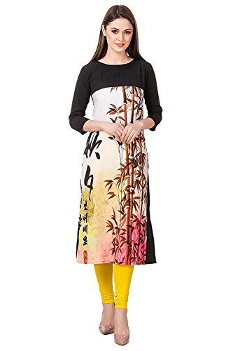 Binny Creation Multi Colour Boat Neck with Full Sleeve Printed Casual Kurtis...
