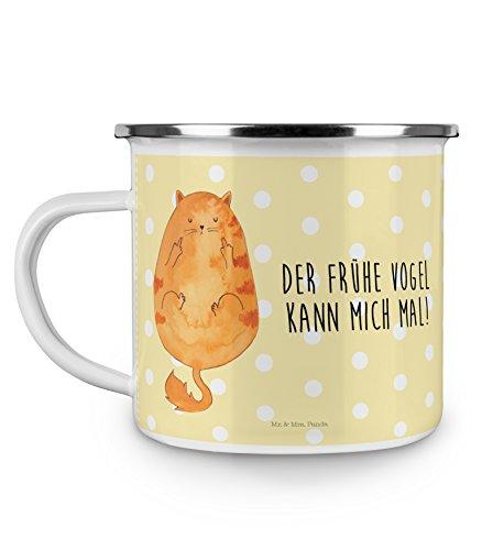 Mr. & Mrs. Panda Emaille Tasse Katze Frühaufsteher - 100% handmade in Norddeutschland - Morgenmuffel, , Kaffeetasse, Kaffee, Frühaufsteher, Katzen, Der frühe Vogel kann mich mal, Becher, Metalltasse, Kaffeebecher, Kater, Mietze