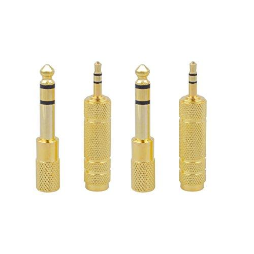 CE-Link Stereo Audio Adapter 6.35mm Klinkenstecker auf 3.5mm Klinken Buchse + 6,35mm Klinken-Buchse zu 3,5mm Klinken-Stecker mit Vergoldete Kontakte für Kopfhörer oder Lautsprecher, 4 Stück - Gold Gold 3,5 Mm Audio