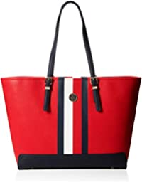 Tommy Hilfiger Honey Ew Tote Print, Cabas femme, Rouge (Red/Core Stripe), 14x32x49 cm (B x H T)