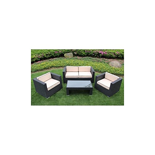 Richmond garden 2016 clearance rattan furniture verano cannes 4 piece black rattan patio sofa - Must have pieces for your patio furniture ...