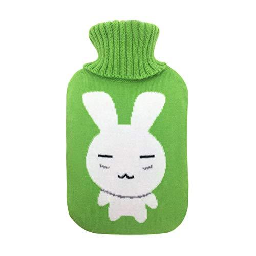 Milnut Wärmflaschenbezug Stricken Geeignet für 2-Liter Wärmflasche Bezug für Wärmflasche- Hellgrünes Weißes Kaninchen - Stricken Kaninchen