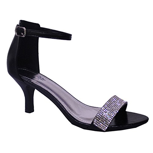 Black Patent Diamante Strappy Low Mid Heel Ankle Strap Shoes Sandals (UK...