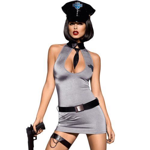 Obsessive Police Dress 5-Teiliges Kostüm Set,Größe (Hathor Kostüme)