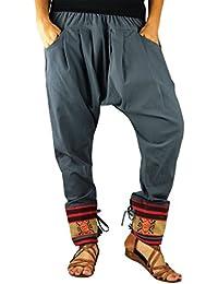 Pantalon ethnique unisexe de virblatt, avec des tissages traditionnels, avec une taille élastique et confortable, vêtements ethniques S - L Malie
