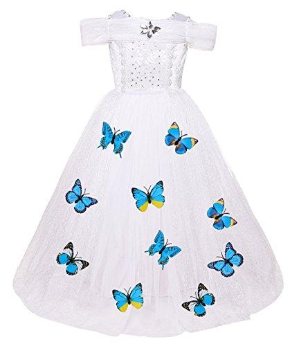 ädchen Prinzessin Cosplay Kostüm Fancy Schmetterling Kleid (140, D-weiß) ()