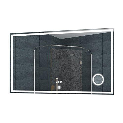 Lux-aqua Badezimmerspiegel Wandspiegel Lichtspiegel LED Uhr Schminkspiegel Touch Schalter 100 x 60 cm - LMC1060A