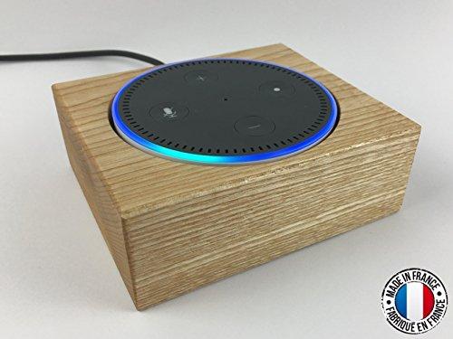 Holztischständer für Amazon Echo Dot Alexa. Dekorative Schutzhülle aus Holz von Frene. Französische Herstellung.