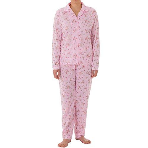 LUCKY - Pyjama Set Damen Langarm Pyjama mit Druck und durchgehende Knopfleiste, Größe:S;Farbe:Pink