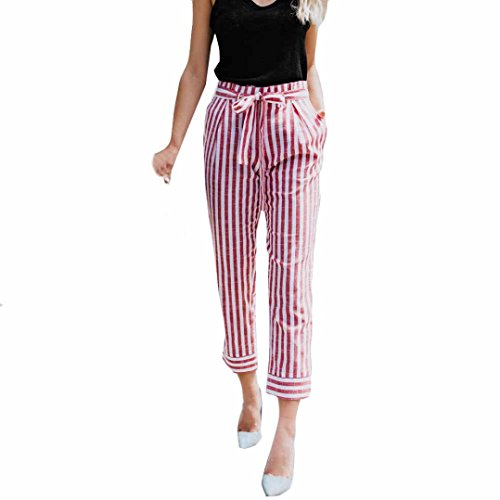 UFACE Cowboy Belted Frauen High Rise Hosen Cowboy Fashion Wide Casual Beinhosen (XL/(46), Rosa)