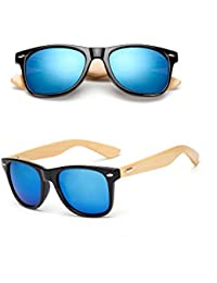BOZEVON Mode Unisexe Rétro Bambou Lunettes de soleil Frame UV400 Noyer Noir-Or 2dWdZHl
