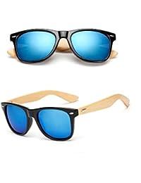 BOZEVON Mode Unisexe Rétro Bambou Lunettes de soleil Frame UV400 Noyer Noir-Or