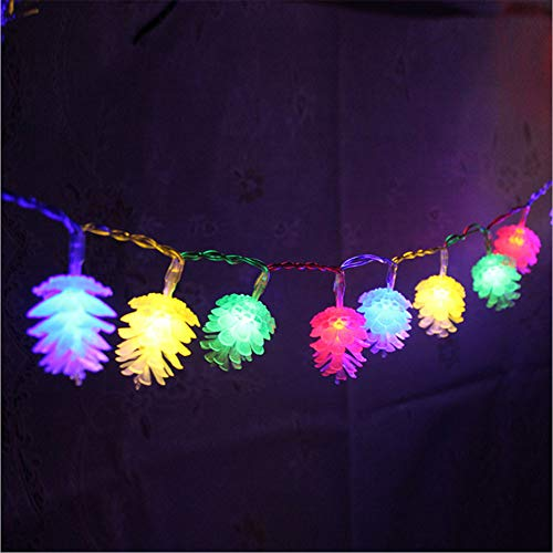 Multi Color Christmas Tree (ZRR LED Fairy Light, 10M 80 LED Light USB Powered 8 Modes Remote und Timer Outdoor Wasserdichte Pine Cones Light for Wedding Party Garden Christmas Tree (Warm White),Multicolor)