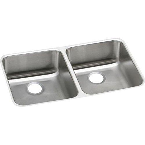 Elkao|#Elkay ELUHAD321645 18 Gauge Stainless Steel 31.75 Inch x 16.5 Inch x 4.375 Inch Double Bowl Undermount Kitchen Sink, by Elkay (Elkay Undermount Kitchen Sink)