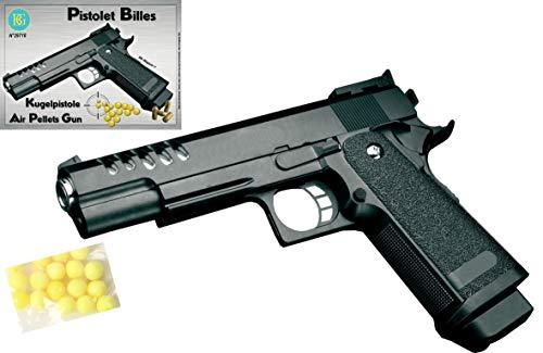 KOSxBO® Set: Erbsenpistole Kinder Fasching Pistole Elite Edition mit Munition zum Verkleiden als Polizist, Agent, Spion oder Mafia Kostüm (Airsoft Pellet Gun)