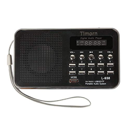 Timorn Radio Mini Music Player Portable Supports Fonction TF de Carte USB SD Format MP3 / Radio FM (L938) (Noir)