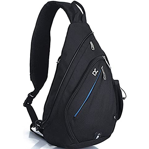 FreeMaster hombro mochila Sling pecho bolsa deporte mochila cruzada cuerpo bolsas para camping gimnasio ciclismo bicicleta mochila escolar bolsa de hombro pequeña, color negro, tamaño 18.7H x 11.8W x 5.1T inch (47 x 30 x 13cm), volumen liters 19