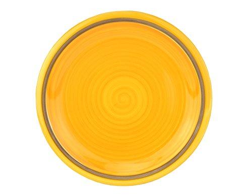 Hochzeit Dekor Taupe (Rose & Tulipani Speiseteller Riviera, Ø 270 mm, gelb-taupe, großer Essteller, Menüteller flach, Servierplatte rund, Gastro-Geschirr, abstrakt)