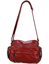 JOLLYCHIC Women's Washed Leather Multi Pocket Travel Crossbody Bag Shoulder Bag