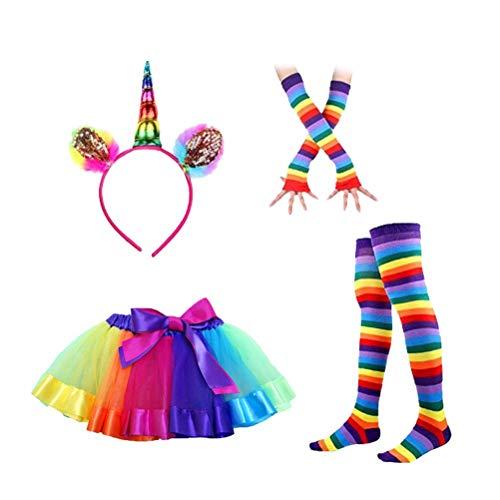 rn Stirnband Kinder Tutu Rock mit gestreiften Oberschenkel Strümpfe Socken und Lange Handschuhe Party Cosplay Kostüm Set ()