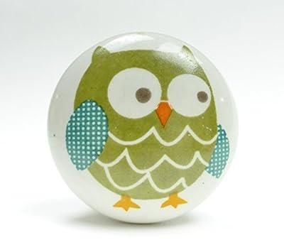 Ceramic Animal Door Knobs Drawer Pulls Cupboard Door Knobs Glass Handles (Green Owl Ceramic)