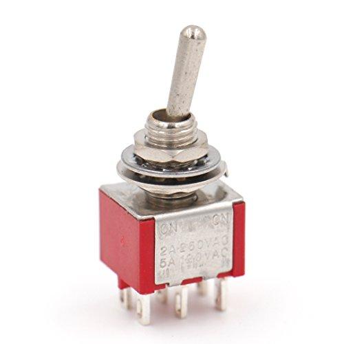 Heschen Miniatur-Kippschalter MTS-202 ON-ON DPDT 6-polig, 2A 250V, 5A 120V, UR gelistet, 5 Stück -
