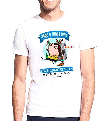 Missborderlike - Camiseta Hombre - Cuando el alcohol entran las chorradas salen (y los mensajes a los ex...) , Talla S