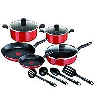 TEFAL ESSENTIAL Chef de France Cooking Set 12 pieces pots and pans Set, Non Stick Coating, Dishwasher Safe