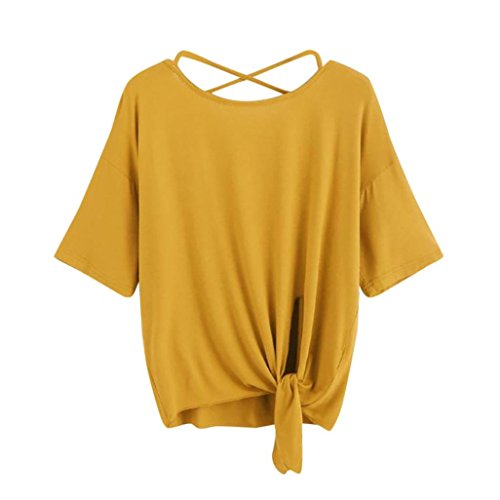 ESAILQ Damen Basic Longshirt Oberteil T-Shirt Top(L,Gelb)