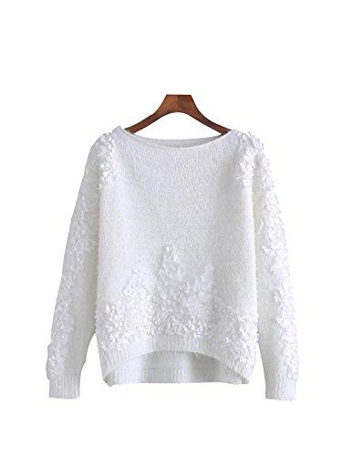 Damen Fritter Langärmelige Blütenblätter Wort Kragen Stricken Warmen Pullover,White-OneSize