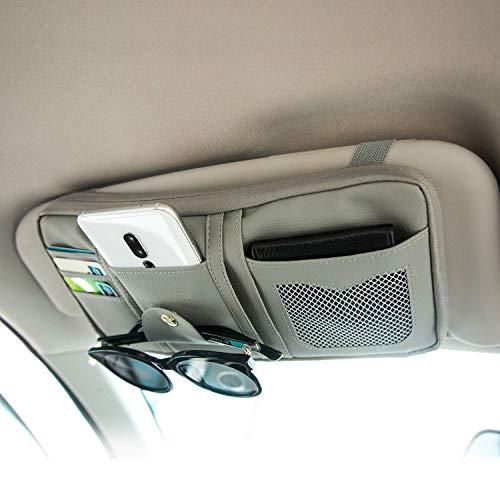 Da by, Auto Sonnenblende Organizer, Auto Innenraum Zubehör Sonnenbrille CD-Karten,Bankkarte, kleine Dokumenten-Aufbewahrungstasche, PU Leder,Großraumtasche mit Reißverschluss, Grau