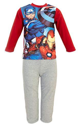 Marvel avengers - pigiama in micro pile caldo e morbido coordinato 2 pz maglia a maniche lunghe e pantalone - bambino - novità prodotto originale 8212hr [rosso/grigio - 4 anni - 104 cm]