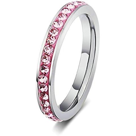 Alimab gioielli anelli donne Acciaio inossidabile banda nozze pavimentato ossido zirconio