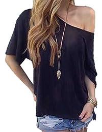 9e16a7ed97 WOZNLOYE T Shirt Monospalla Donna Camicetta Estiva Maglietta Maglie Maniche  Corte Ragazza Tops Casual